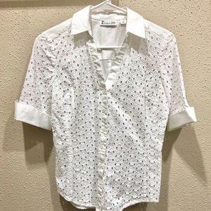 White Eyelet NY&co buttoned shirt. NWOT!